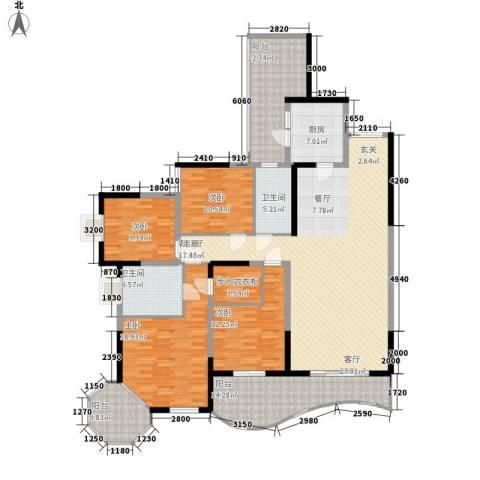 复地别院院立方4室1厅2卫1厨222.00㎡户型图