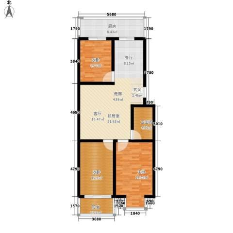 宝嘉龙庭3室0厅1卫1厨97.00㎡户型图