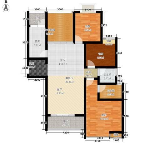 曲江诸子阶3室1厅2卫1厨124.00㎡户型图