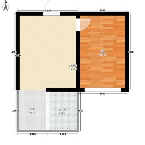 大将作1室0厅1卫0厨51.00㎡户型图