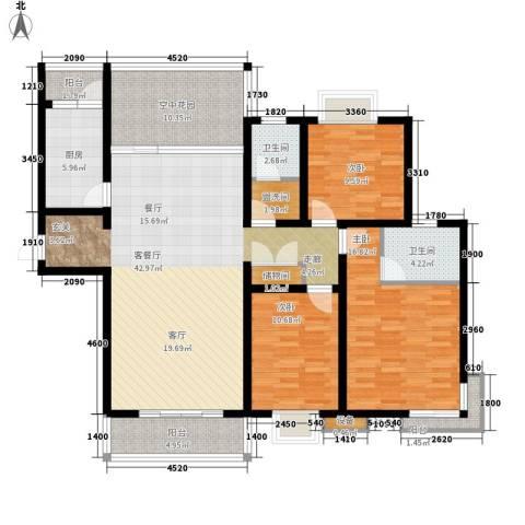 曲江诸子阶3室1厅2卫1厨142.00㎡户型图