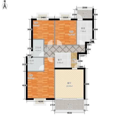 南山花园3室2厅2卫1厨136.00㎡户型图