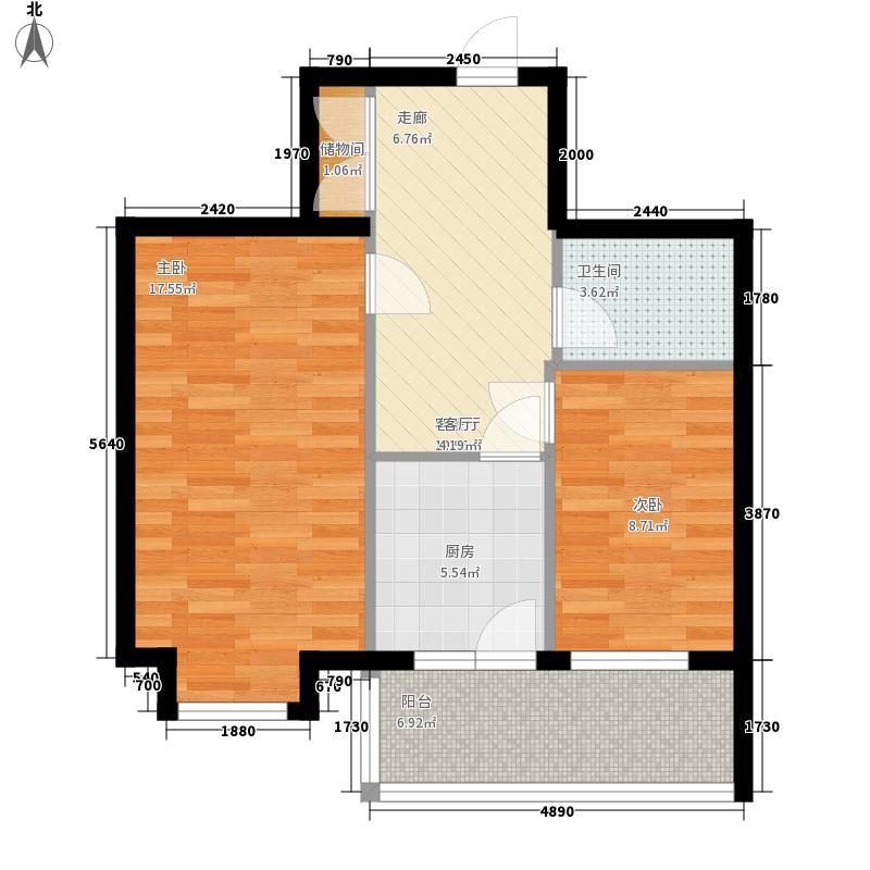 心缘现代城64.10㎡心缘现代城户型图多层B户型2室1厅1卫1厨户型2室1厅1卫1厨