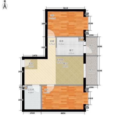 民生国际2室0厅1卫1厨66.00㎡户型图