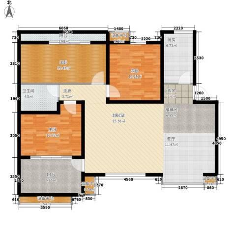 中虹花园锦绣文华3室0厅1卫1厨134.00㎡户型图