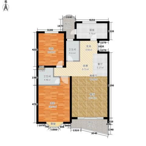 鸿发家园2室1厅2卫1厨107.00㎡户型图
