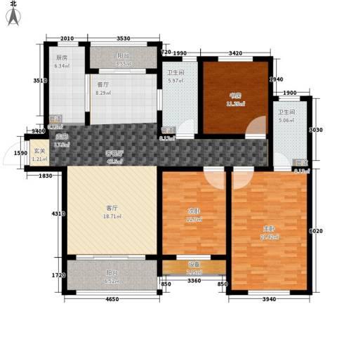 银丰唐郡・紫薇园3室1厅2卫1厨140.00㎡户型图