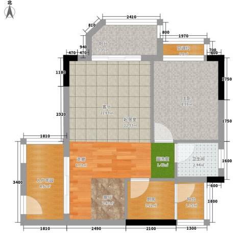 鸿洲佳园1室0厅1卫1厨57.00㎡户型图