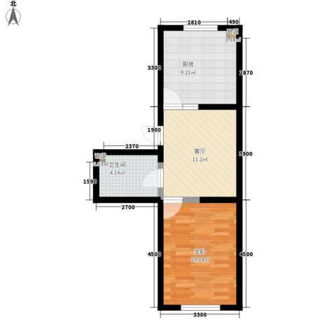 梓桐花园1室1厅1卫1厨55.00㎡户型图