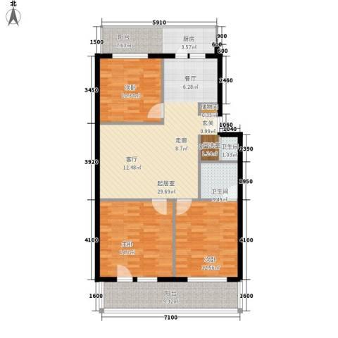 重减小区3室0厅2卫0厨100.00㎡户型图