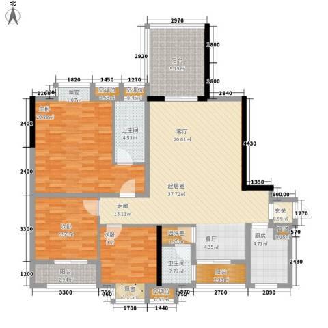 金元国际新城3室0厅2卫1厨134.00㎡户型图