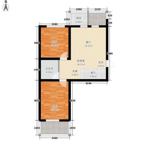 钢府逸居2室0厅1卫1厨82.00㎡户型图