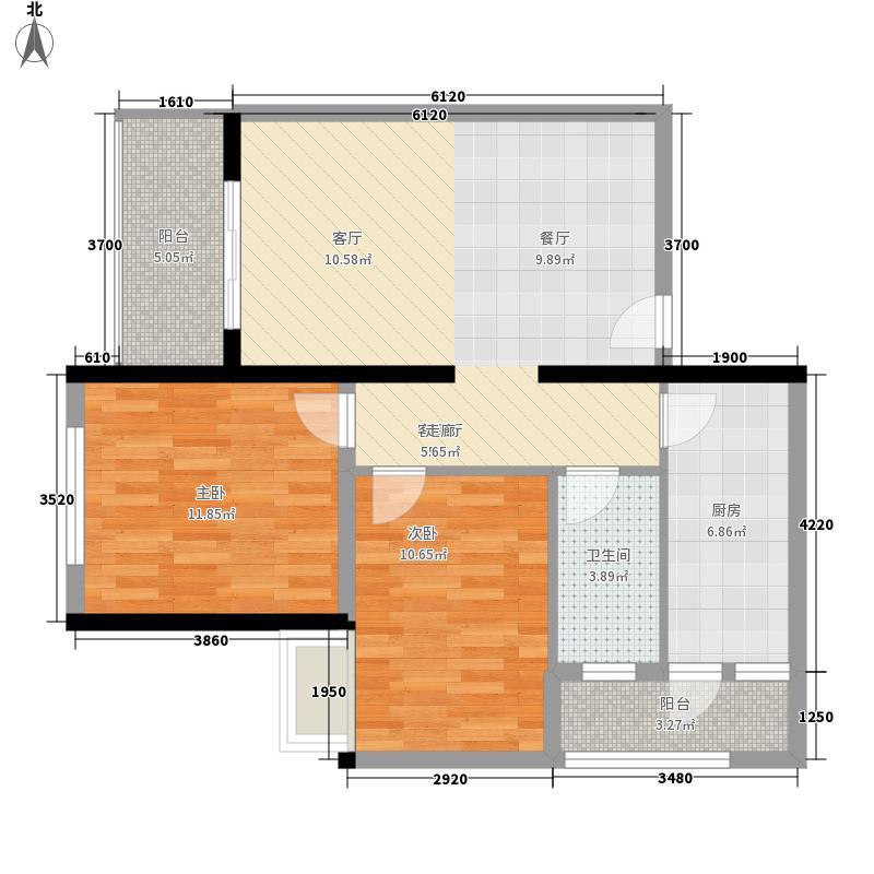 富庄庭77.32㎡03单位户型2室2厅1卫1厨