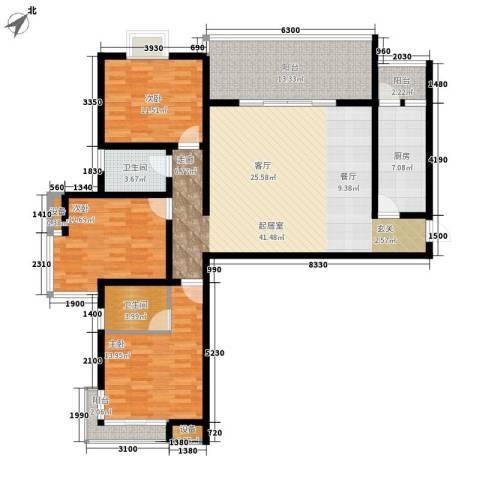 曲江诸子阶3室0厅2卫1厨137.00㎡户型图