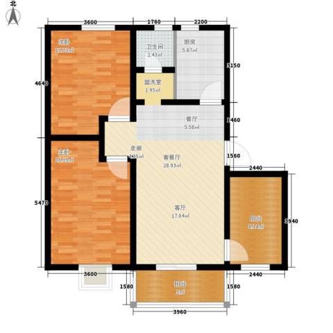 凤凰苑西区2室1厅1卫1厨92.37㎡户型图
