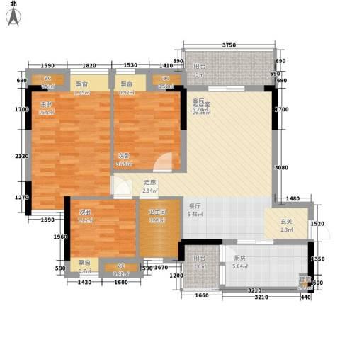 天马河壹号三期・御景湾3室0厅1卫1厨91.00㎡户型图