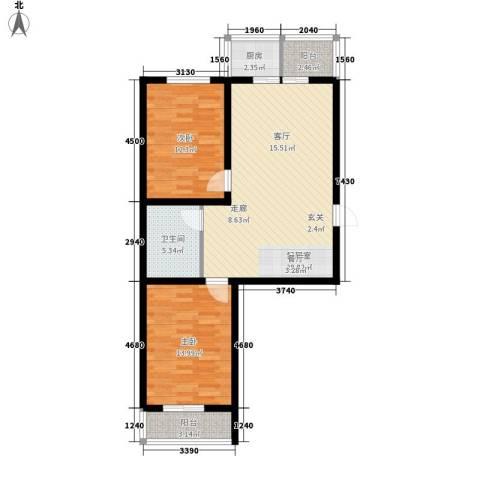钢府逸居2室0厅1卫1厨87.00㎡户型图
