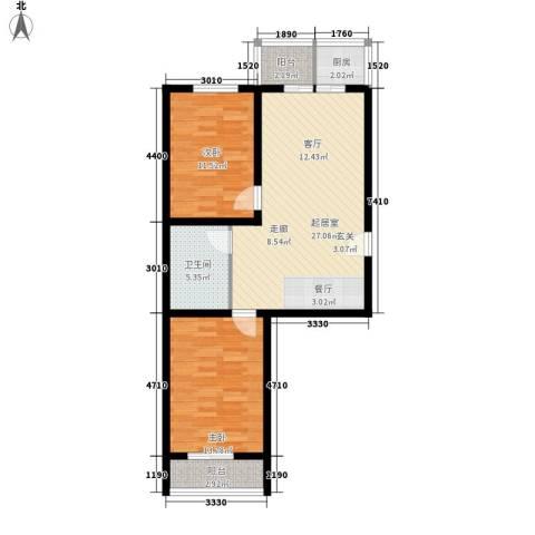 钢府逸居2室0厅1卫1厨83.00㎡户型图