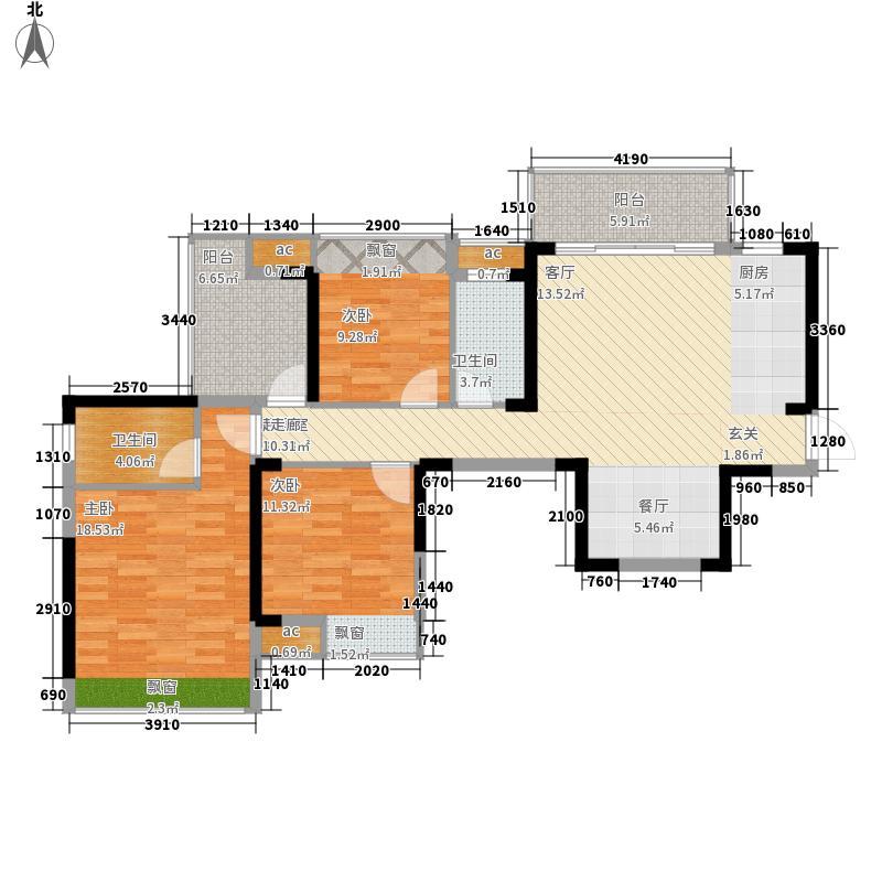 美的城114.35㎡美的城户型图三期A户型3室2厅1卫1厨户型3室2厅1卫1厨