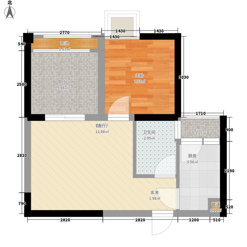 我的大学46.63㎡二期H2户型1室1厅1卫1厨