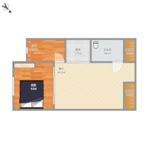 海航YOHO湾2室1厅1卫1厨56.00㎡户型图