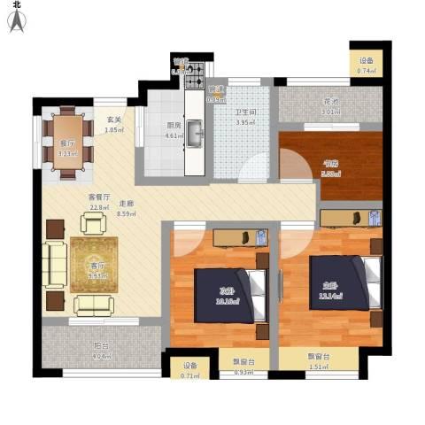 弘阳上城3室1厅1卫1厨131.00㎡户型图