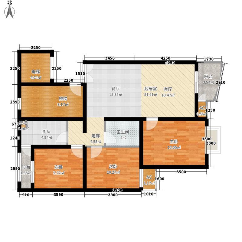 官苑八号116.11㎡1单元3-14层C1户型3室2厅1卫1厨