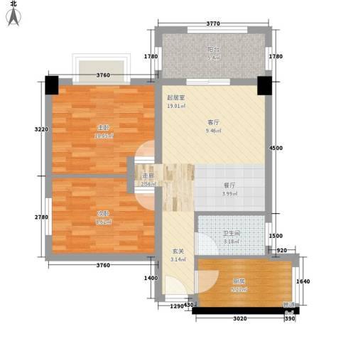 和馨雅居2室0厅1卫1厨64.00㎡户型图