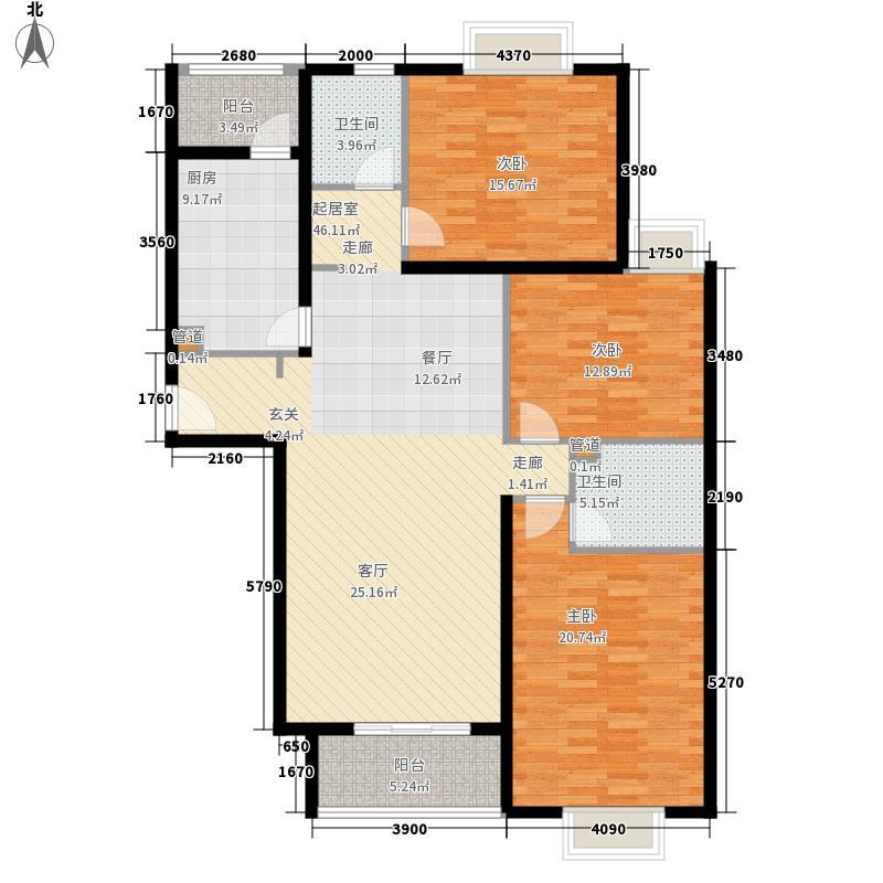 博雅德园137.42㎡3#C户型3室2厅1厨