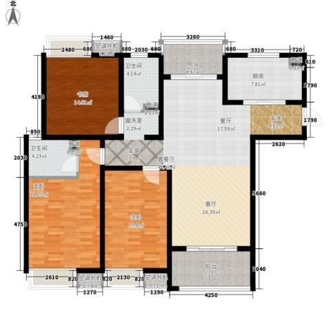 海陵首府3室1厅2卫1厨144.00㎡户型图