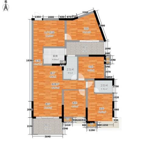 滨江公馆二期4室1厅2卫1厨114.16㎡户型图