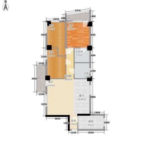 南峰玫瑰园3室0厅2卫1厨95.00㎡户型图