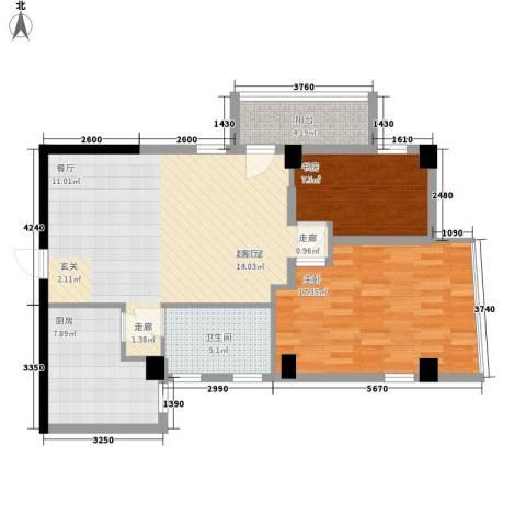 南峰玫瑰园2室0厅1卫1厨80.00㎡户型图