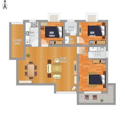 枫桥水岸3室1厅2卫1厨119.00㎡户型图