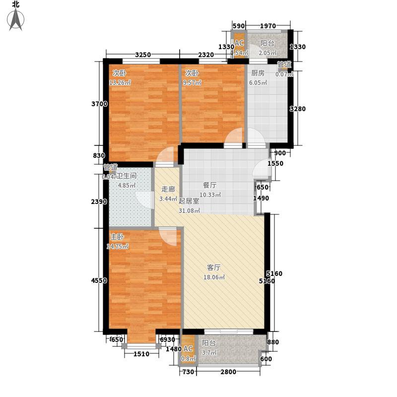 景泰翰林125.00㎡户型F2-1'户型3室2厅1卫1厨