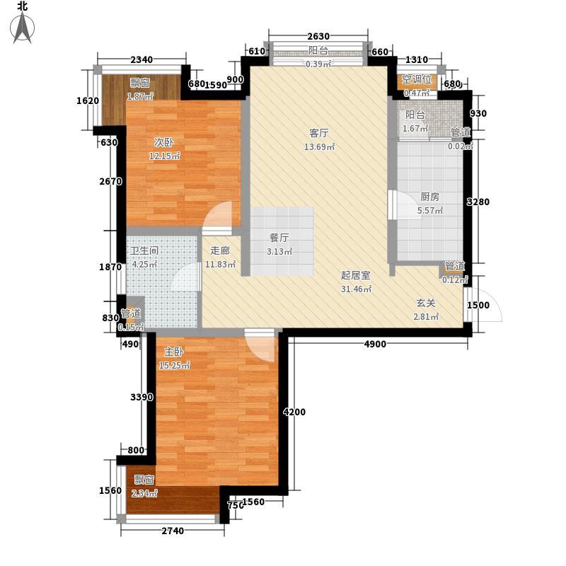 飞阳家园B1户型2室2厅1卫1厨