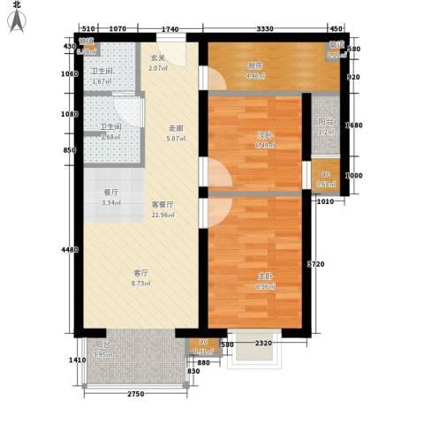 上上城青年新城2室1厅2卫1厨71.00㎡户型图