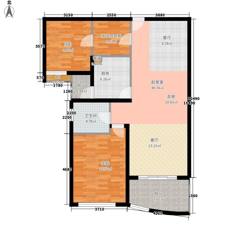 新湖明珠城三期晶钻水岸111.82㎡04户型2室2厅1卫1厨