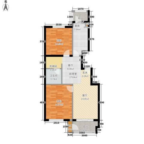 景泰翰林2室0厅1卫1厨100.00㎡户型图