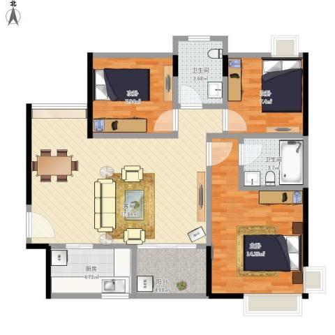 招商花园城二期3室1厅2卫1厨103.00㎡户型图
