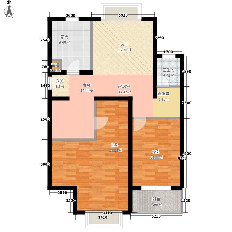 新湖明珠城三期晶钻水岸99.00㎡8#A户型2室2厅1卫