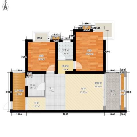 海南东方锦绣蓝湾2室0厅1卫1厨84.00㎡户型图