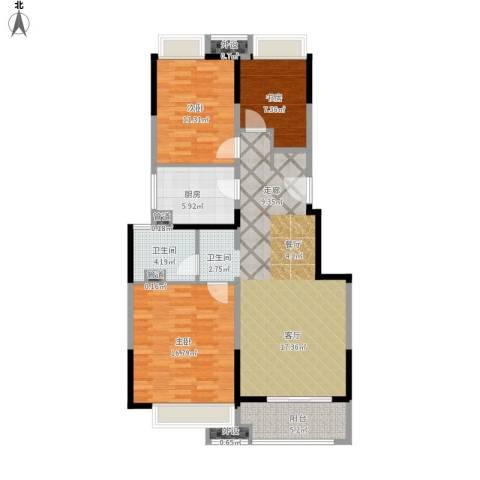 万科时一区3室1厅1卫1厨121.00㎡户型图
