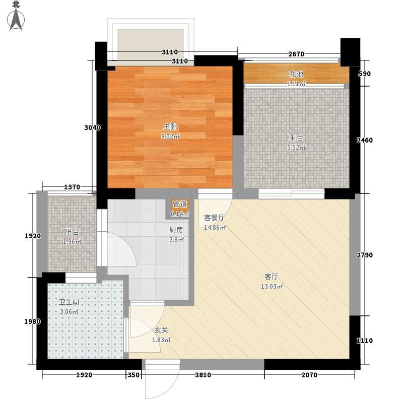 我的大学47.58㎡二期H3户型1室1厅1卫1厨