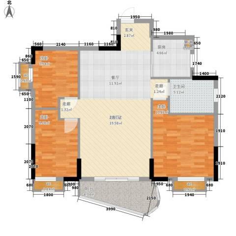阳光澳园3室0厅1卫1厨95.00㎡户型图