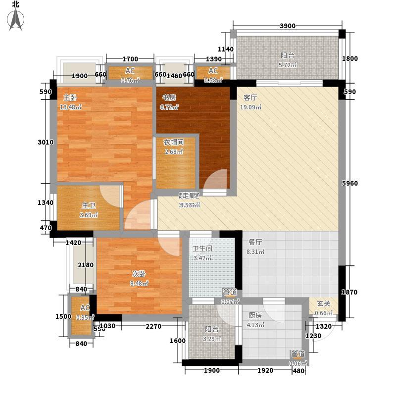 金悦湾90.50㎡一期2号楼标准层A户型