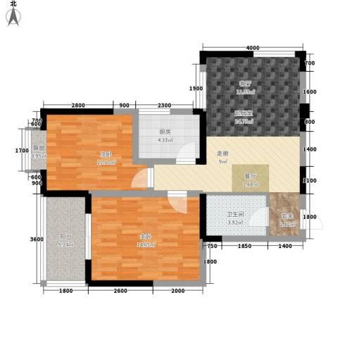 韶雨水韵星城2室0厅1卫1厨88.00㎡户型图