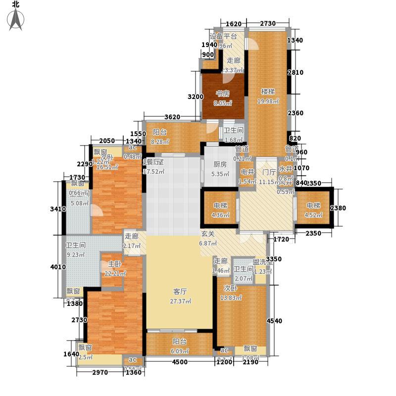 雅居乐富春山居199.00㎡[蓝山]全景四套房户型4室2厅
