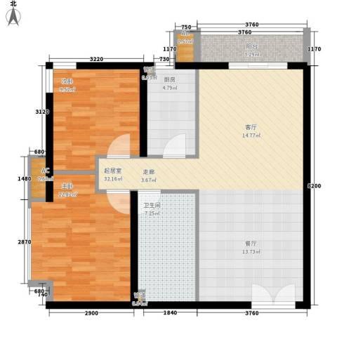 景泰翰林2室0厅1卫1厨84.00㎡户型图