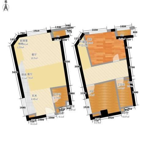 中宇国际中心2室0厅2卫0厨68.00㎡户型图